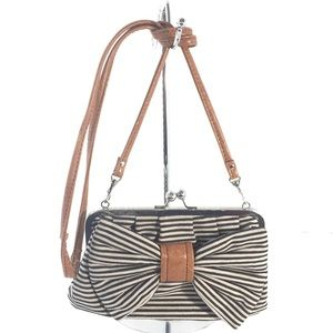 Call it Spring B&W Striped Bow Crossbody clutch